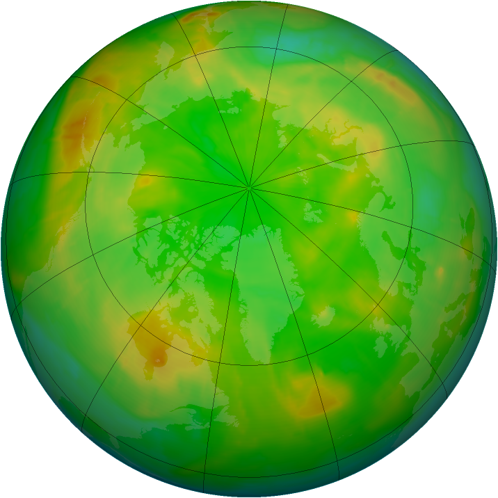 Arctic ozone map for 24 June 2010