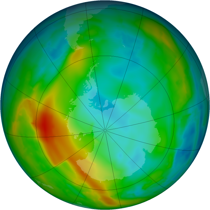 Antarctic ozone map for 24 June 2010