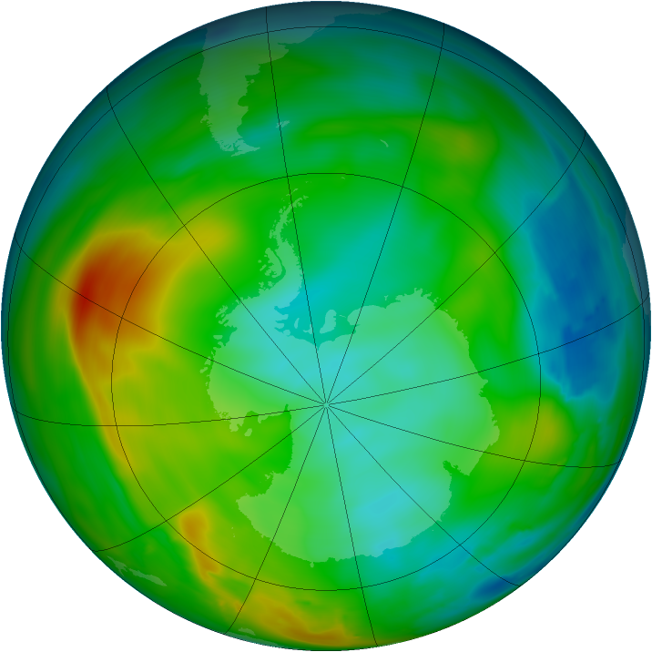 Antarctic ozone map for 27 June 2010
