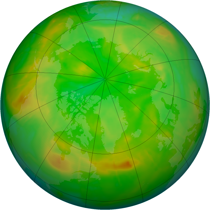 Arctic ozone map for 29 June 2010