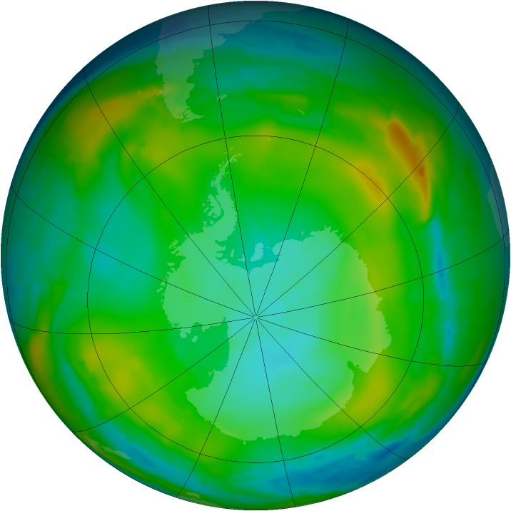 Antarctic ozone map for 02 July 2010