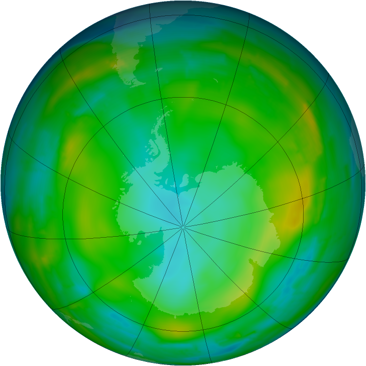 Antarctic ozone map for 04 July 2010