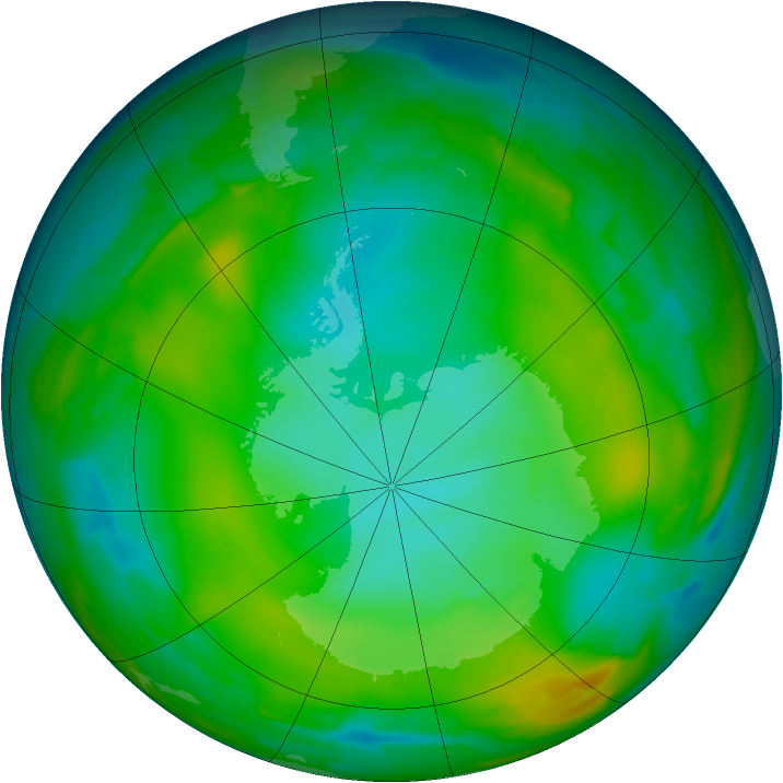 Antarctic ozone map for 07 July 2010