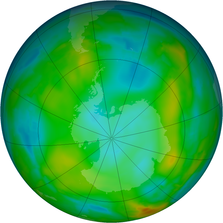 Antarctic ozone map for 08 July 2010