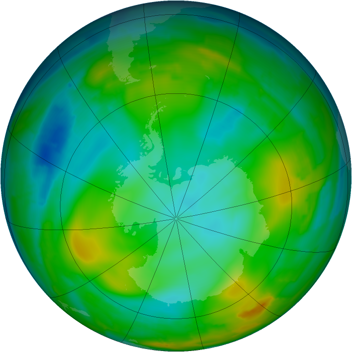 Antarctic ozone map for 10 July 2010