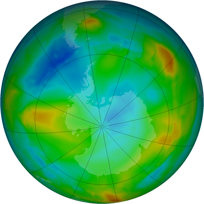 Antarctic ozone map for 12 July 2010