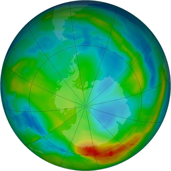 Antarctic ozone map for 15 July 2010
