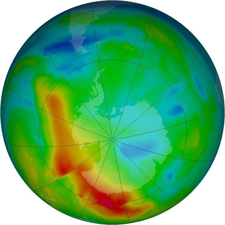Antarctic ozone map for 17 July 2010