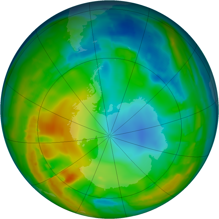 Antarctic ozone map for 20 July 2010