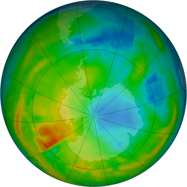 Antarctic ozone map for 21 July 2010