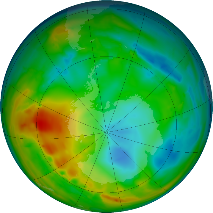 Antarctic ozone map for 23 July 2010