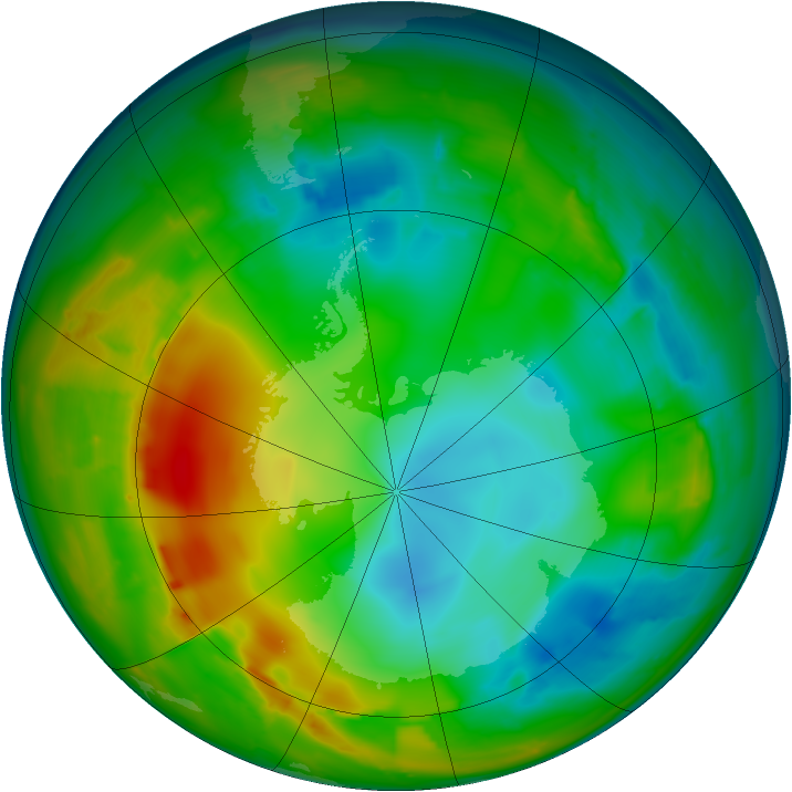 Antarctic ozone map for 24 July 2010