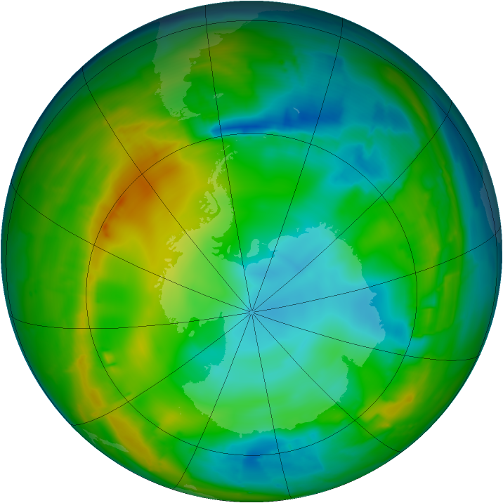 Antarctic ozone map for 26 July 2010