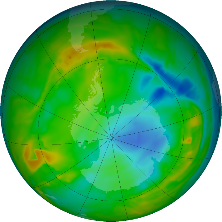 Antarctic ozone map for 28 July 2010
