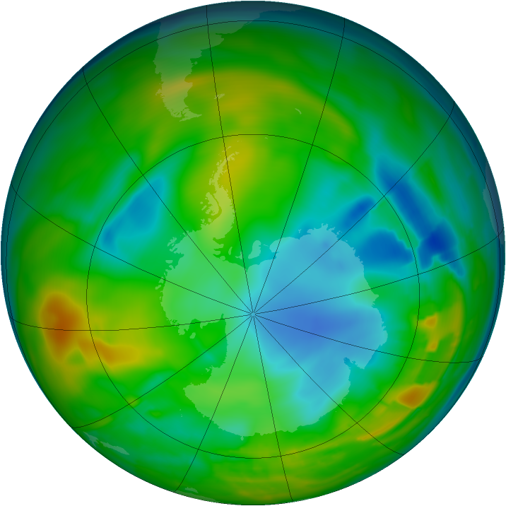 Antarctic ozone map for 29 July 2010