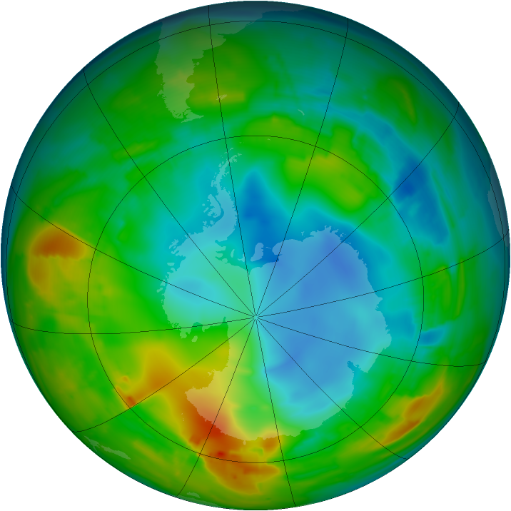 Antarctic ozone map for 31 July 2010