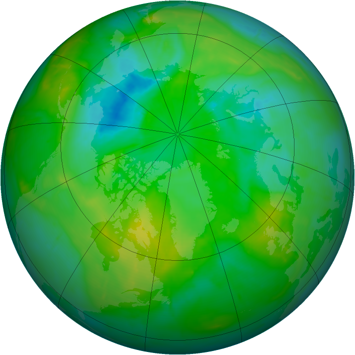 Arctic ozone map for 01 August 2010