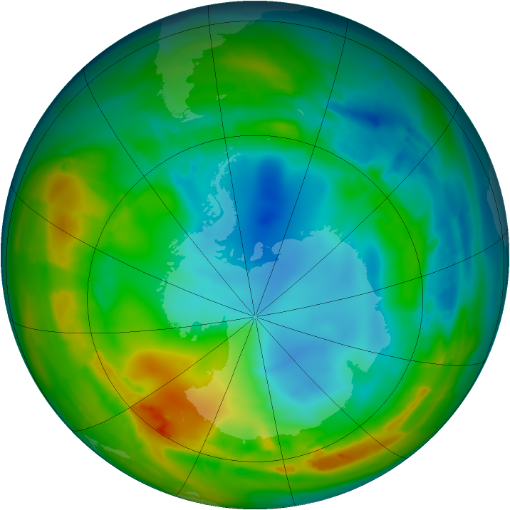Antarctic ozone map for 01 August 2010