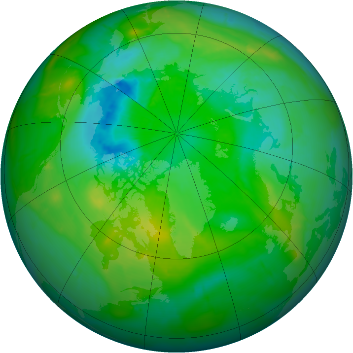 Arctic ozone map for 02 August 2010