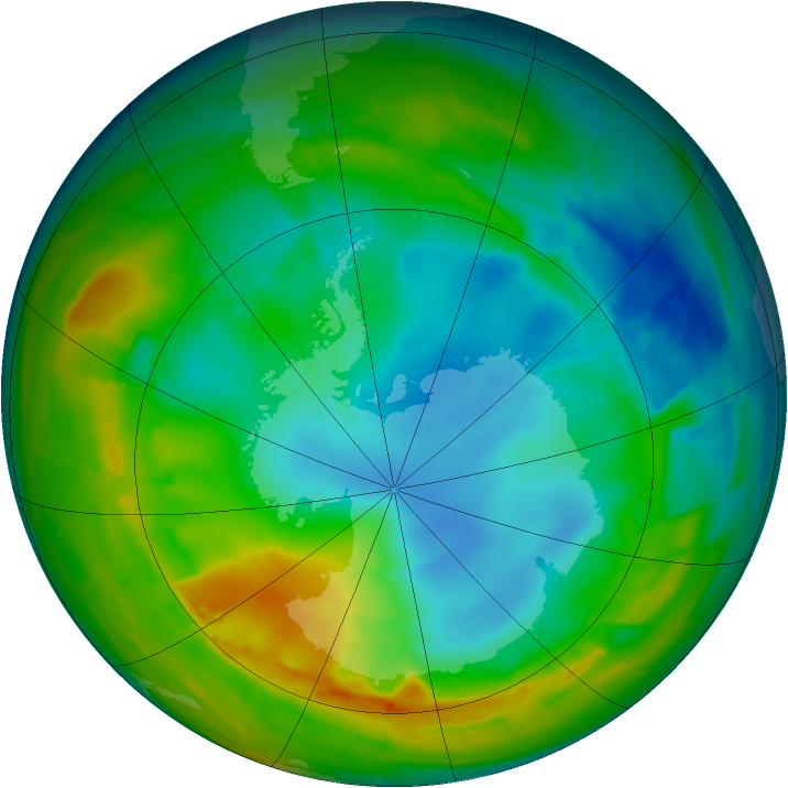 Antarctic ozone map for 02 August 2010