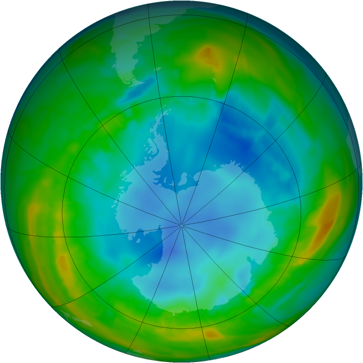 Antarctic ozone map for 10 August 2010