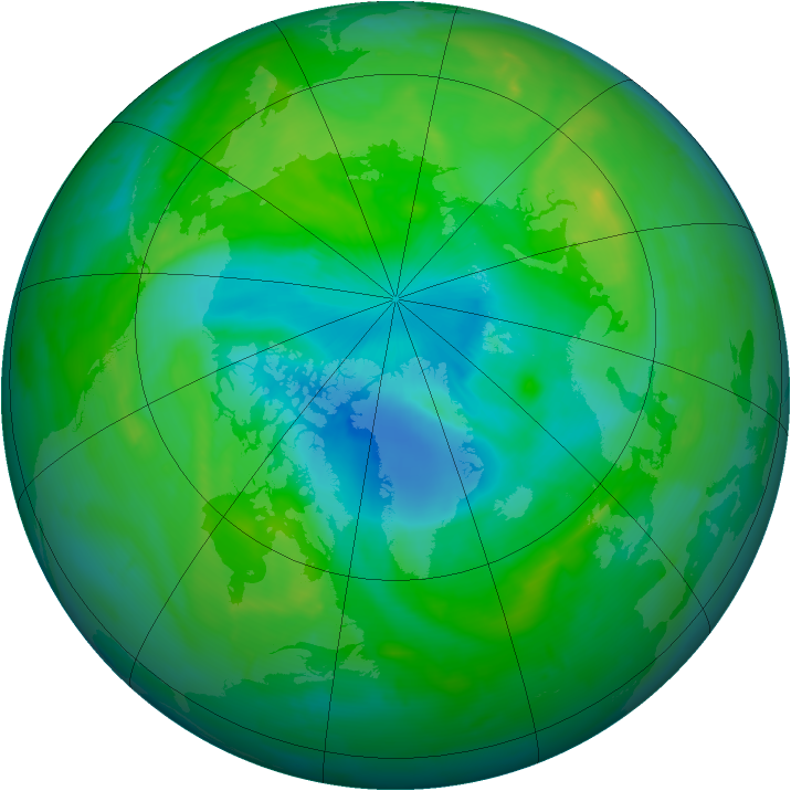 Arctic ozone map for 19 August 2010