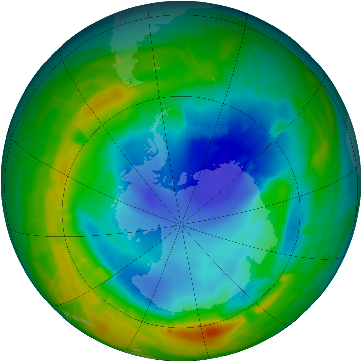 Antarctic ozone map for 21 August 2010