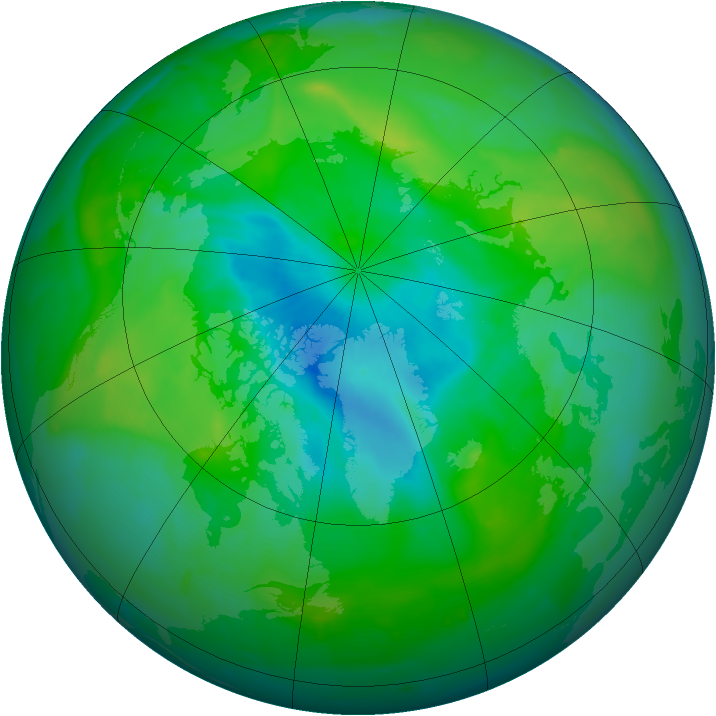 Arctic ozone map for 22 August 2010