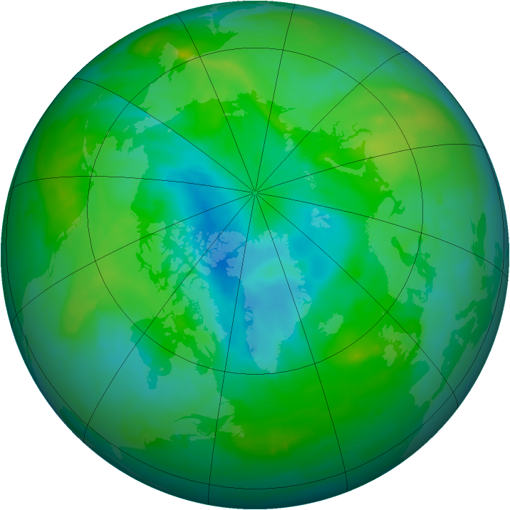 Arctic ozone map for 23 August 2010