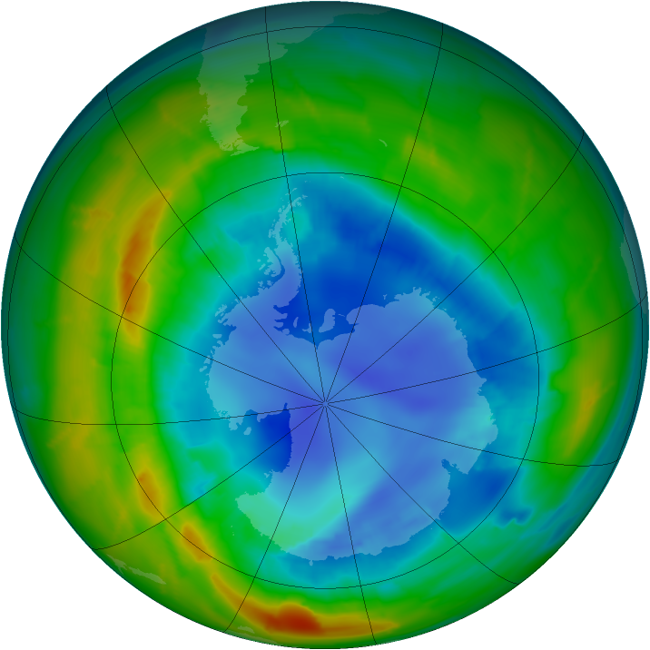 Antarctic ozone map for 24 August 2010