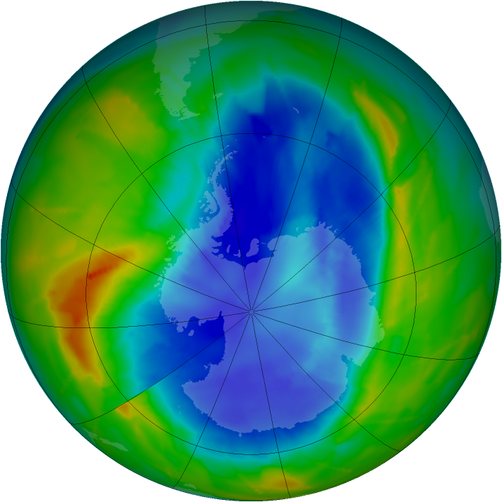 Antarctic ozone map for 08 September 2010