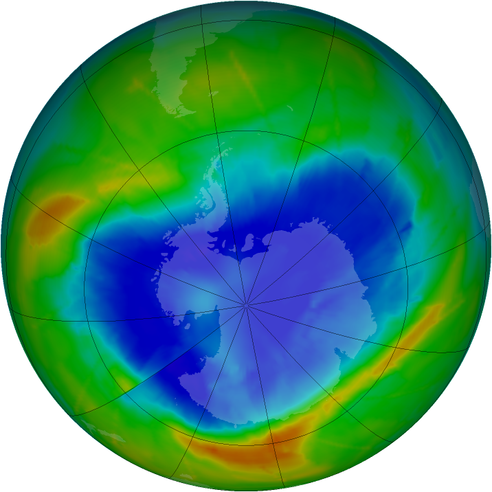 Antarctic ozone map for 11 September 2010