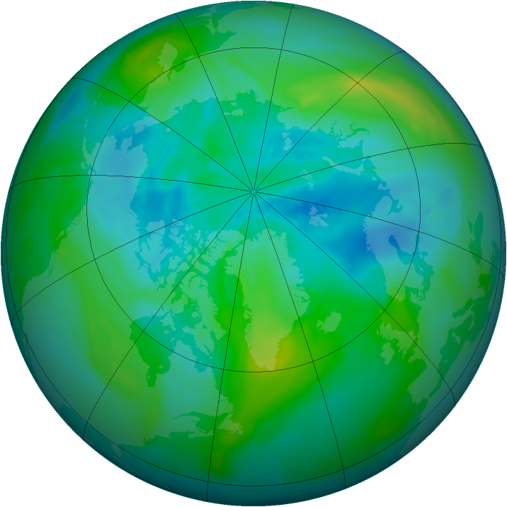 Arctic ozone map for 12 September 2010