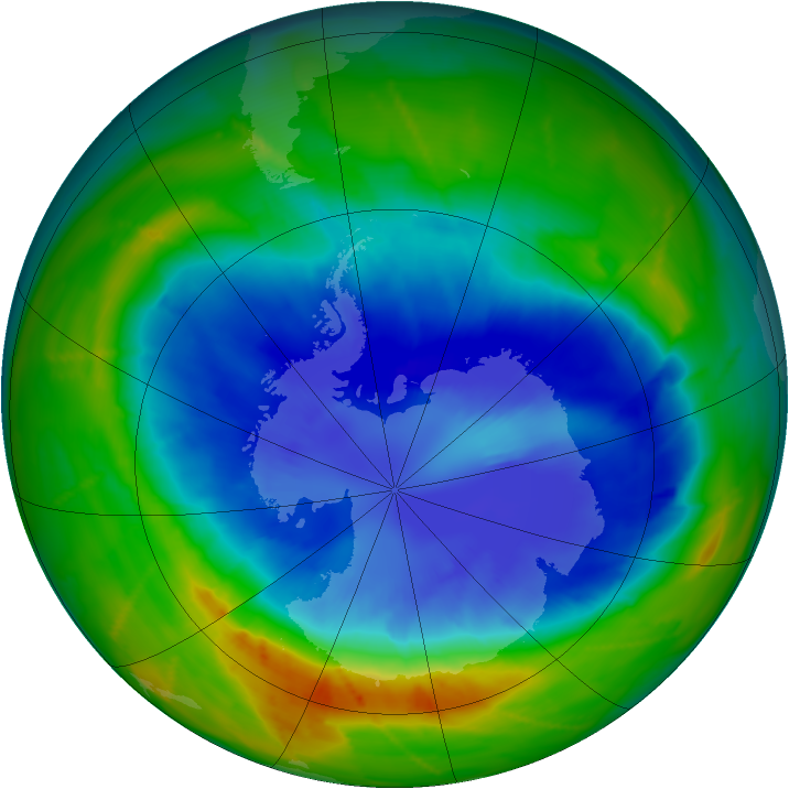 Antarctic ozone map for 13 September 2010