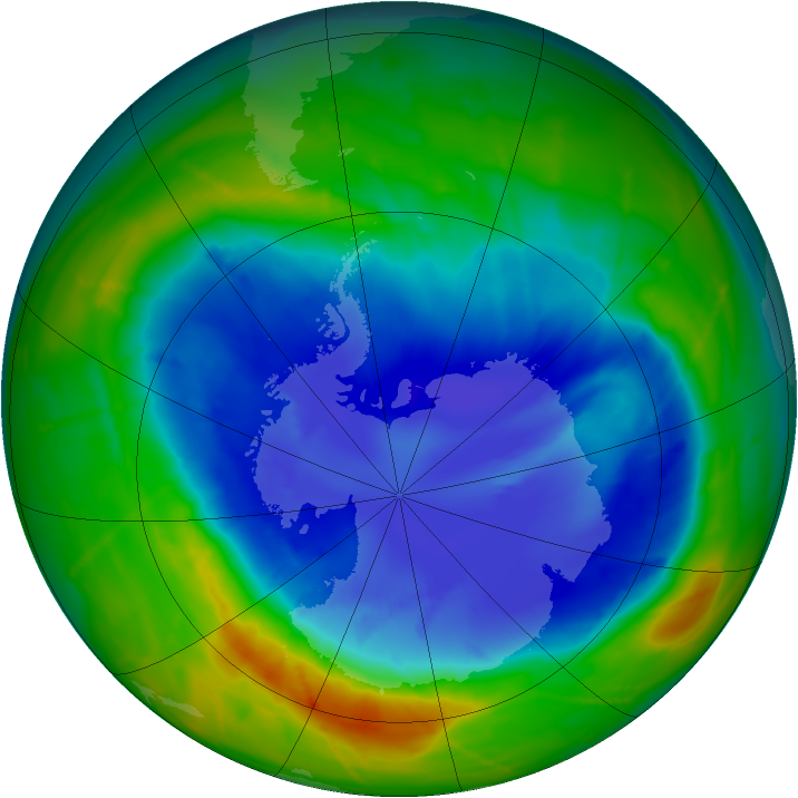 Antarctic ozone map for 14 September 2010