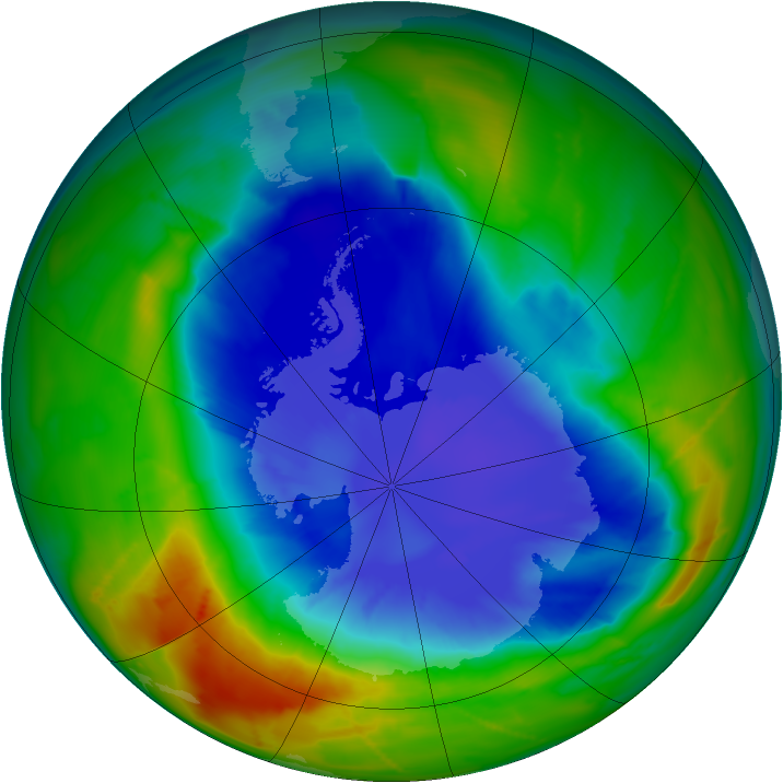 Antarctic ozone map for 17 September 2010