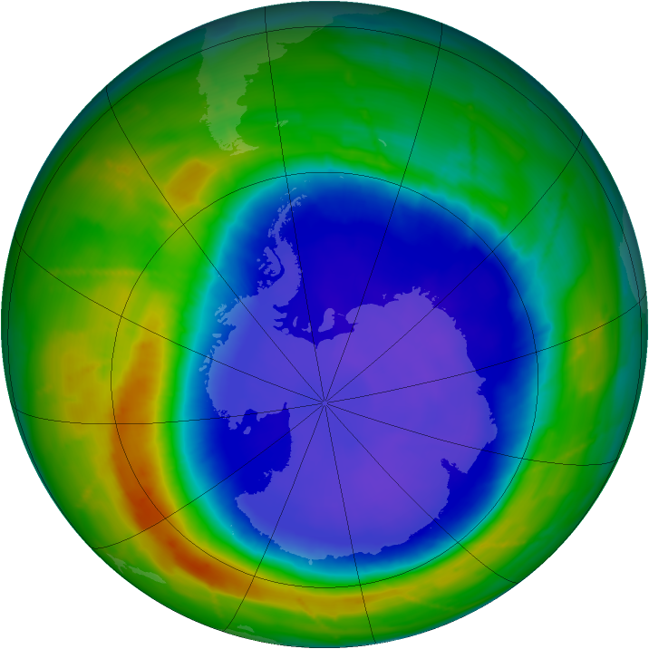 Antarctic ozone map for 24 September 2010