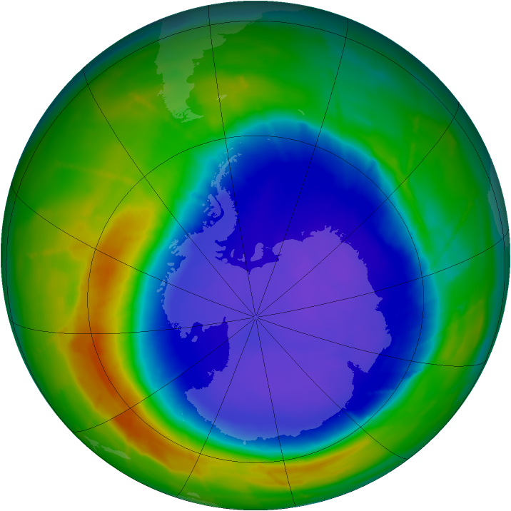 Antarctic ozone map for 25 September 2010