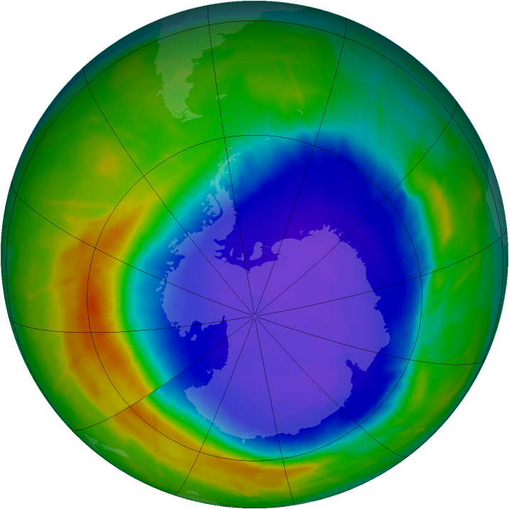 Antarctic ozone map for 26 September 2010
