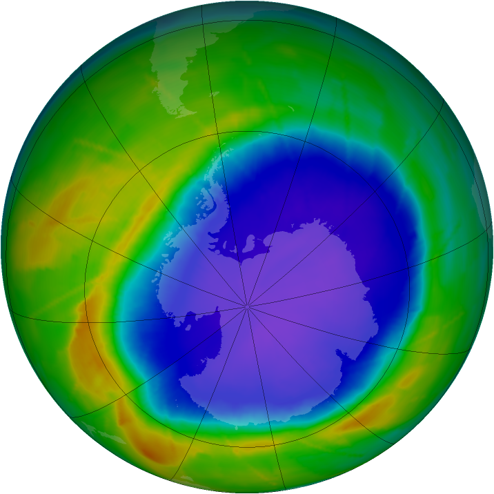 Antarctic ozone map for 29 September 2010
