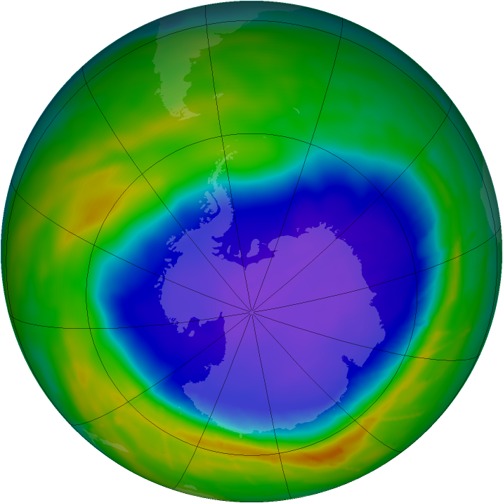 Antarctic ozone map for 01 October 2010
