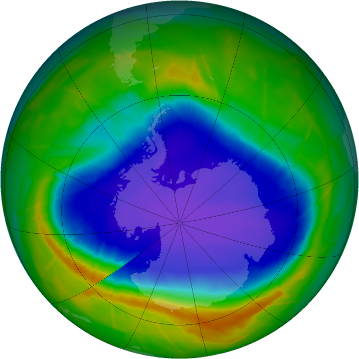 Antarctic ozone map for 03 October 2010