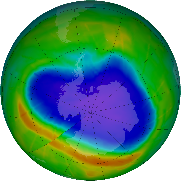 Antarctic ozone map for 04 October 2010