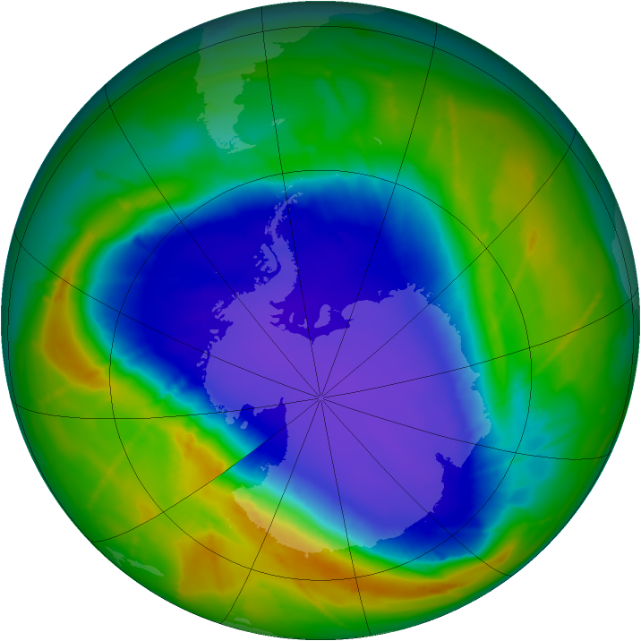 Antarctic ozone map for 08 October 2010