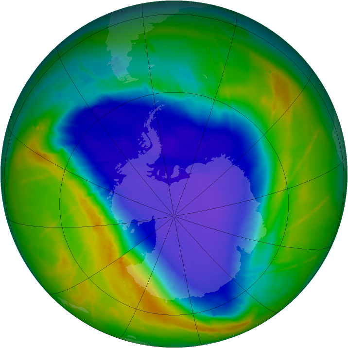 Antarctic ozone map for 09 October 2010