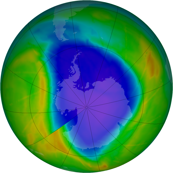 Antarctic ozone map for 10 October 2010