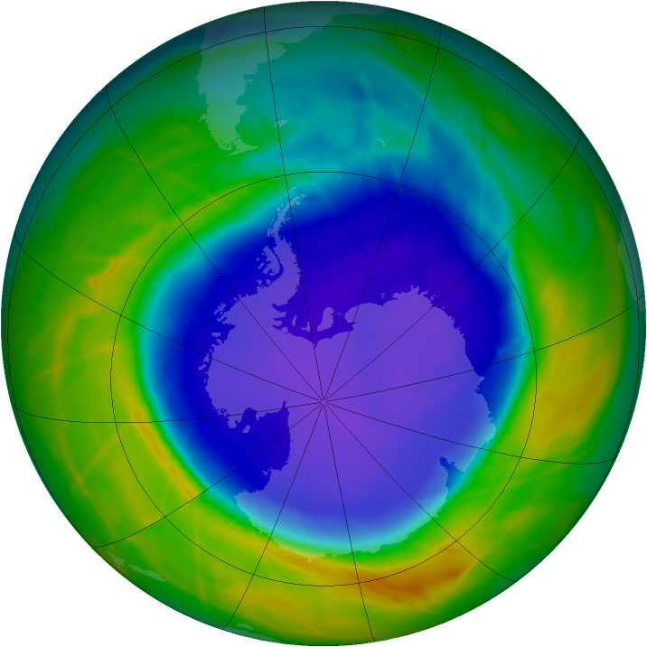 Antarctic ozone map for 12 October 2010