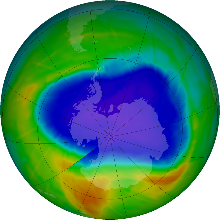 Antarctic ozone map for 15 October 2010
