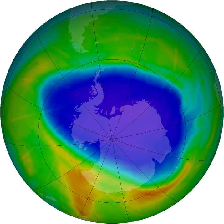 Antarctic ozone map for 16 October 2010