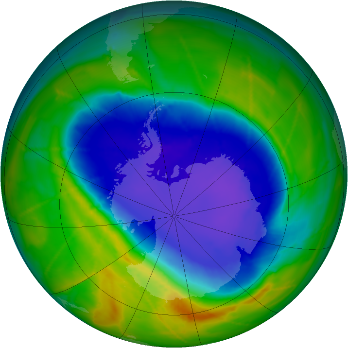 Antarctic ozone map for 17 October 2010